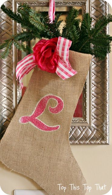 "How to ""GLAM UP"" a burlap stocking for the holidays"