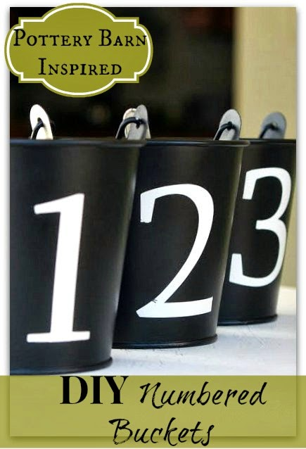 Pottery Barn inspired Numbered buckets