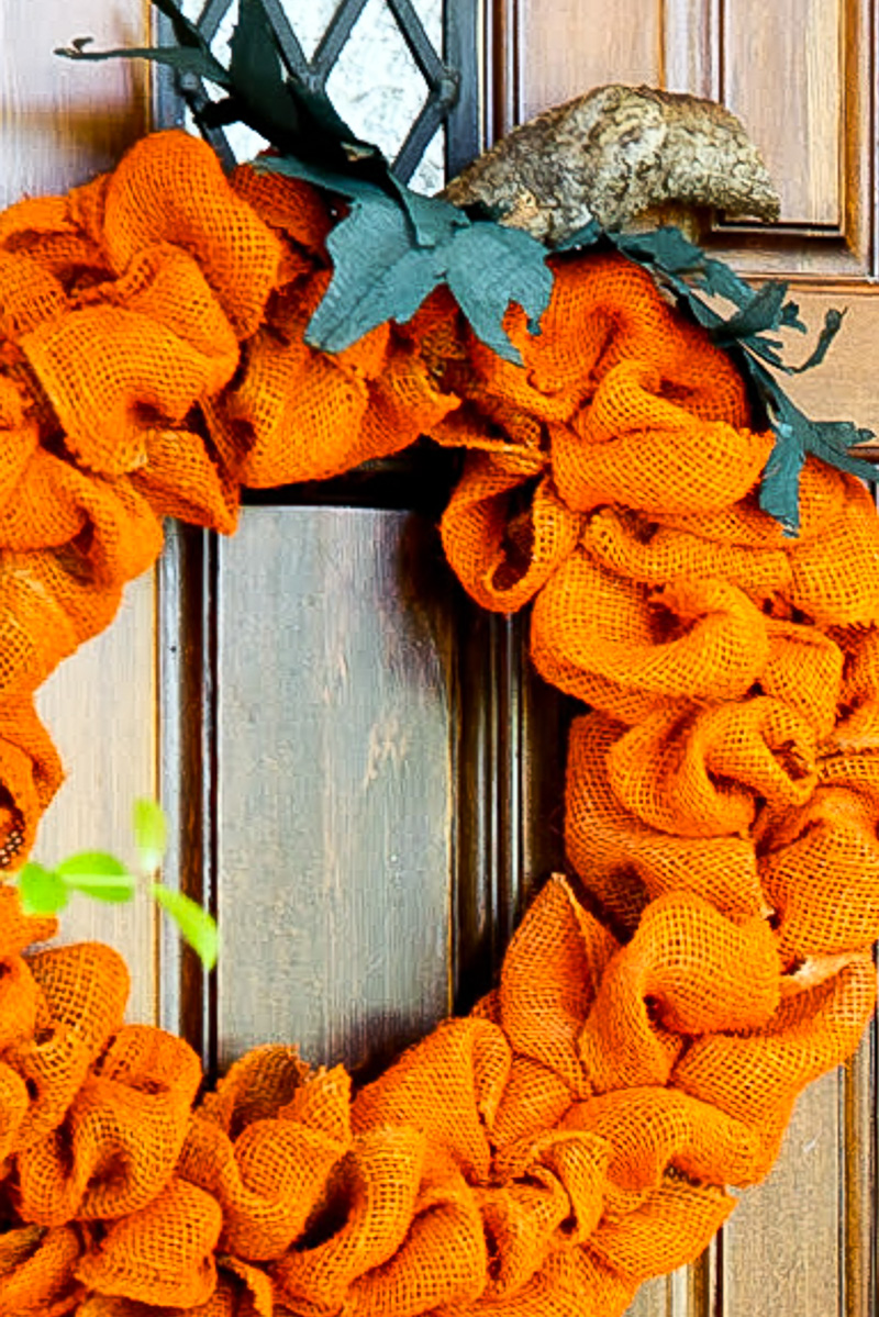 The Easiest Orange Burlap Pumpkin Wreath