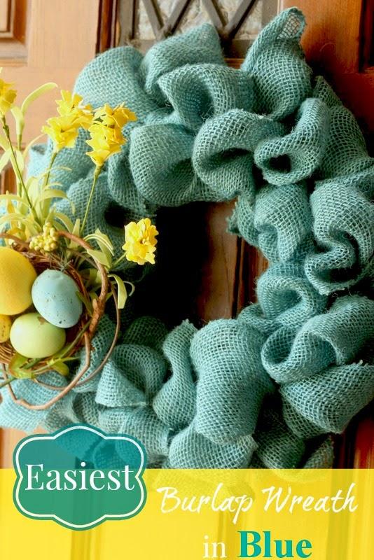 easiest burlap wreath goes blue
