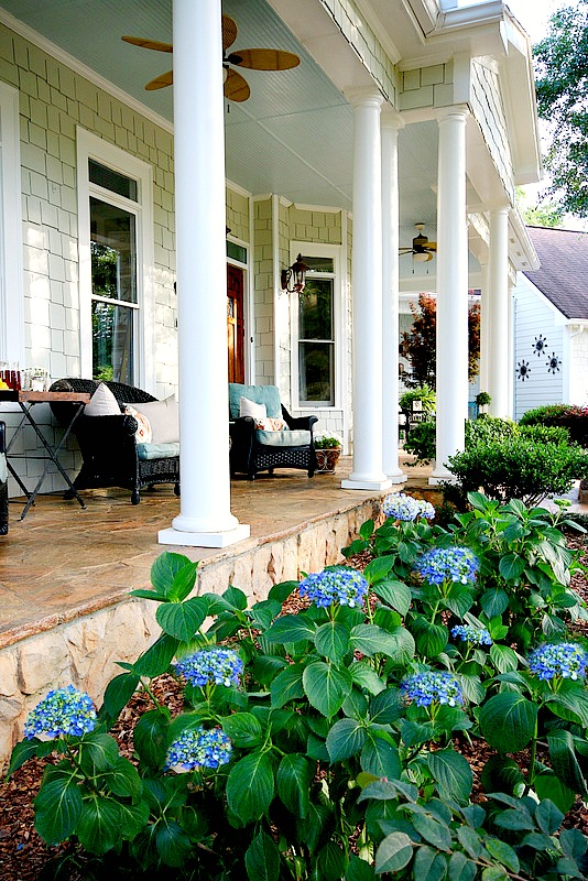 Summer Southern front porch at Duke Manor Farm