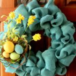 blue burlap spring wreath