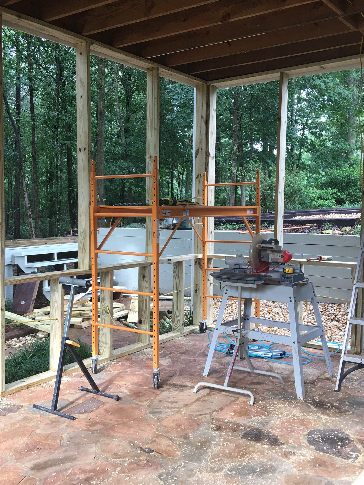 The construction phase of building a Screen Porch
