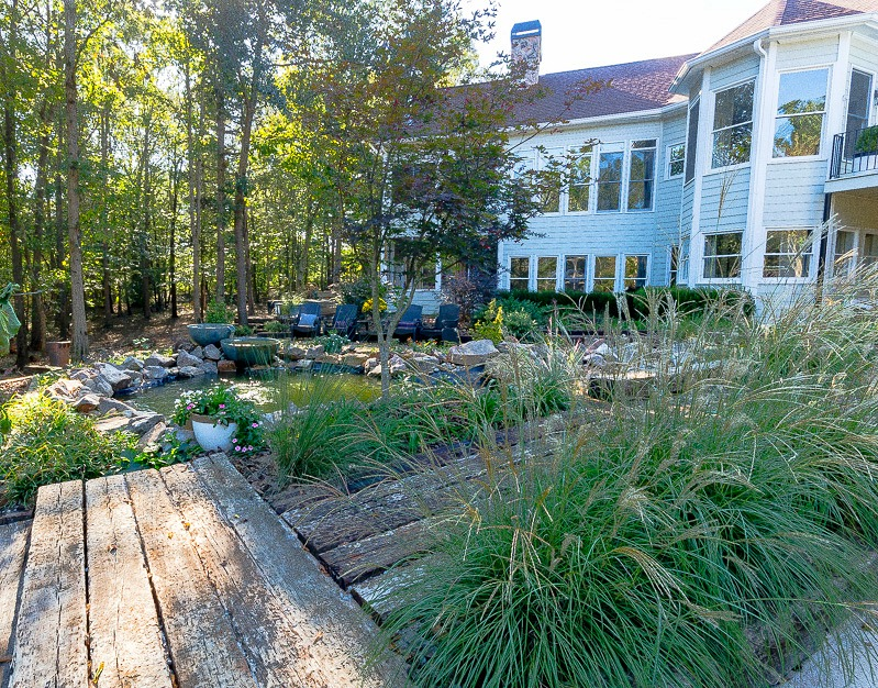 Backyard Pond and Eating Area