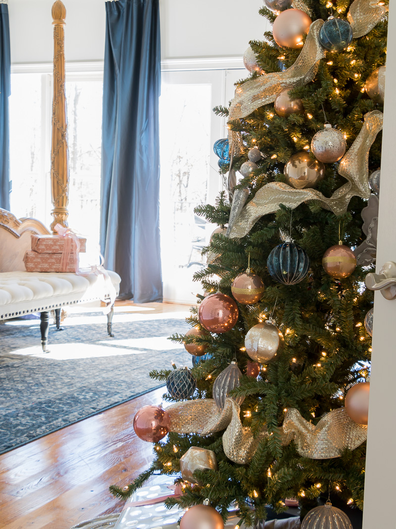 Holiday Bedroom Using Navy And Blush Colors Duke Manor Farm