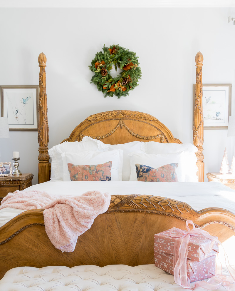Holiday Bedroom using Navy and Blush Colors