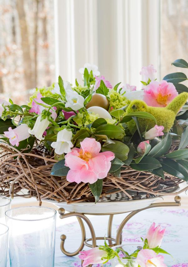 DIY Spring Floral Birds Nest Centerpiece