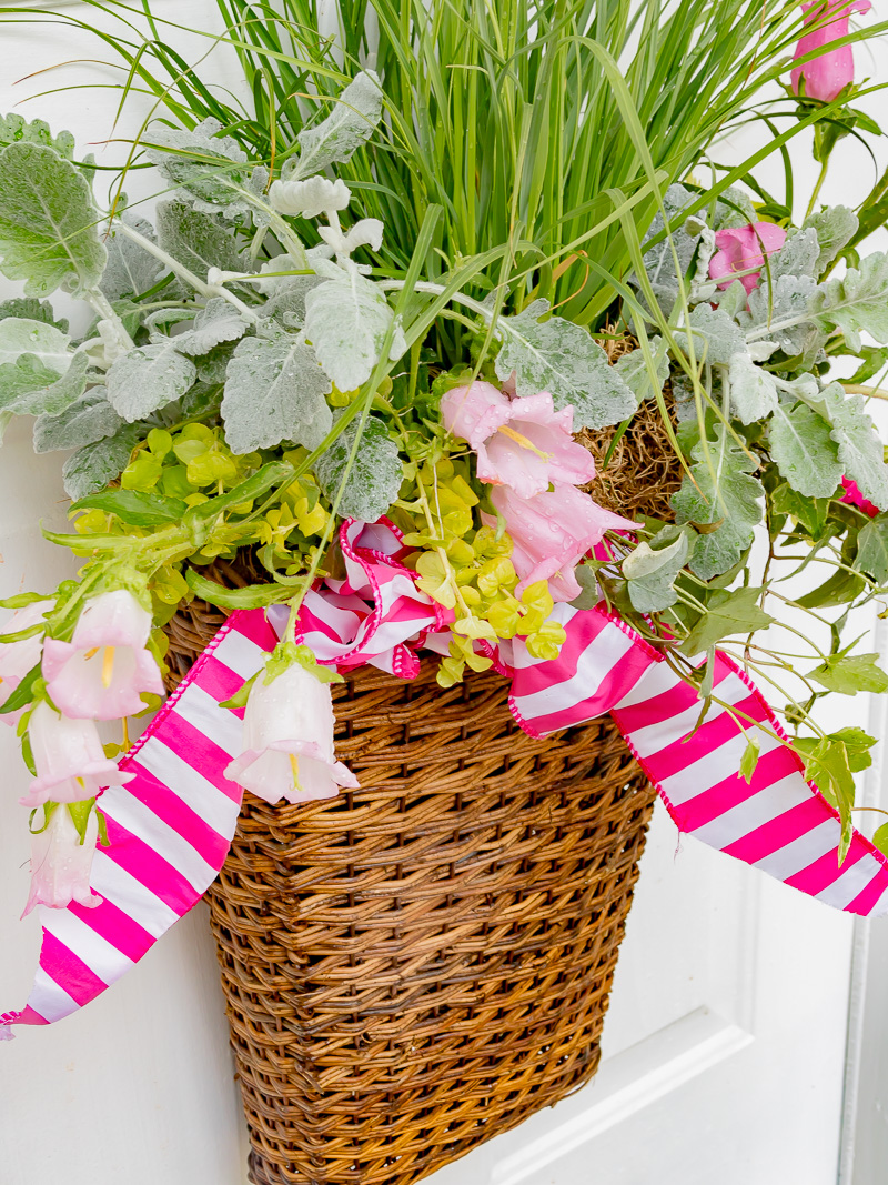 hanging spring basket using live plants and flowers duke