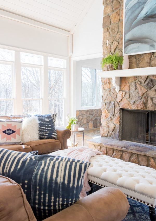 Spring Family Room using blush accents