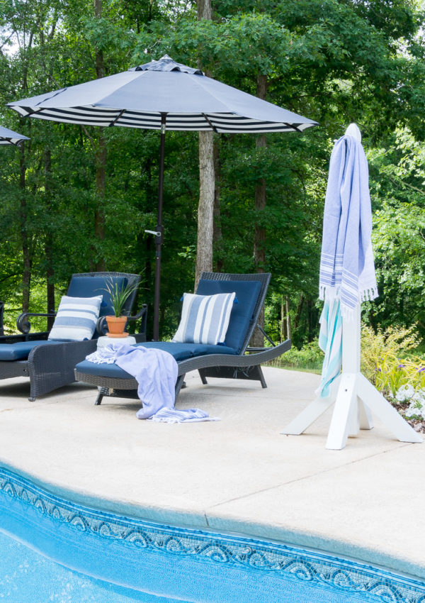 DIY Poolside Towel Holder