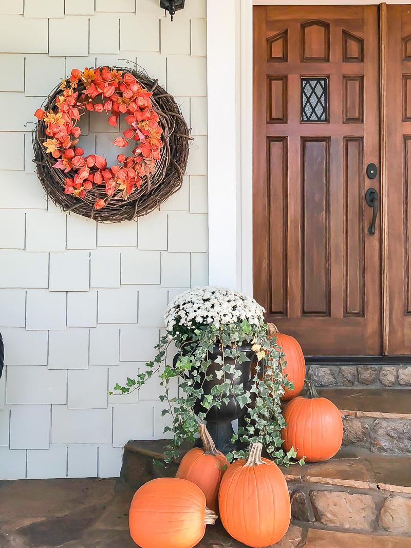 fall porch using gray and orange