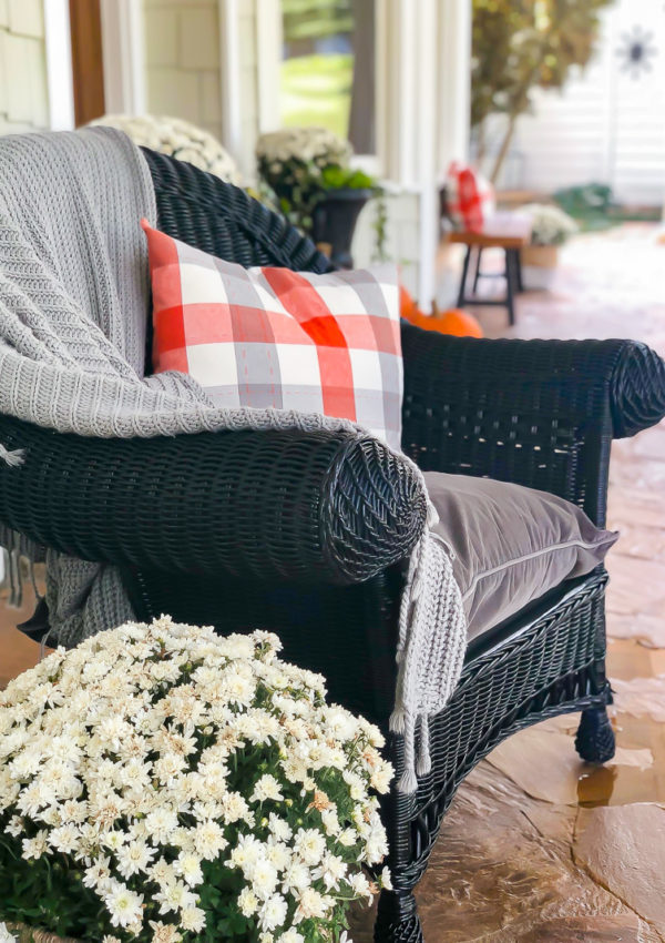 Fall front porch with orange and gray accents